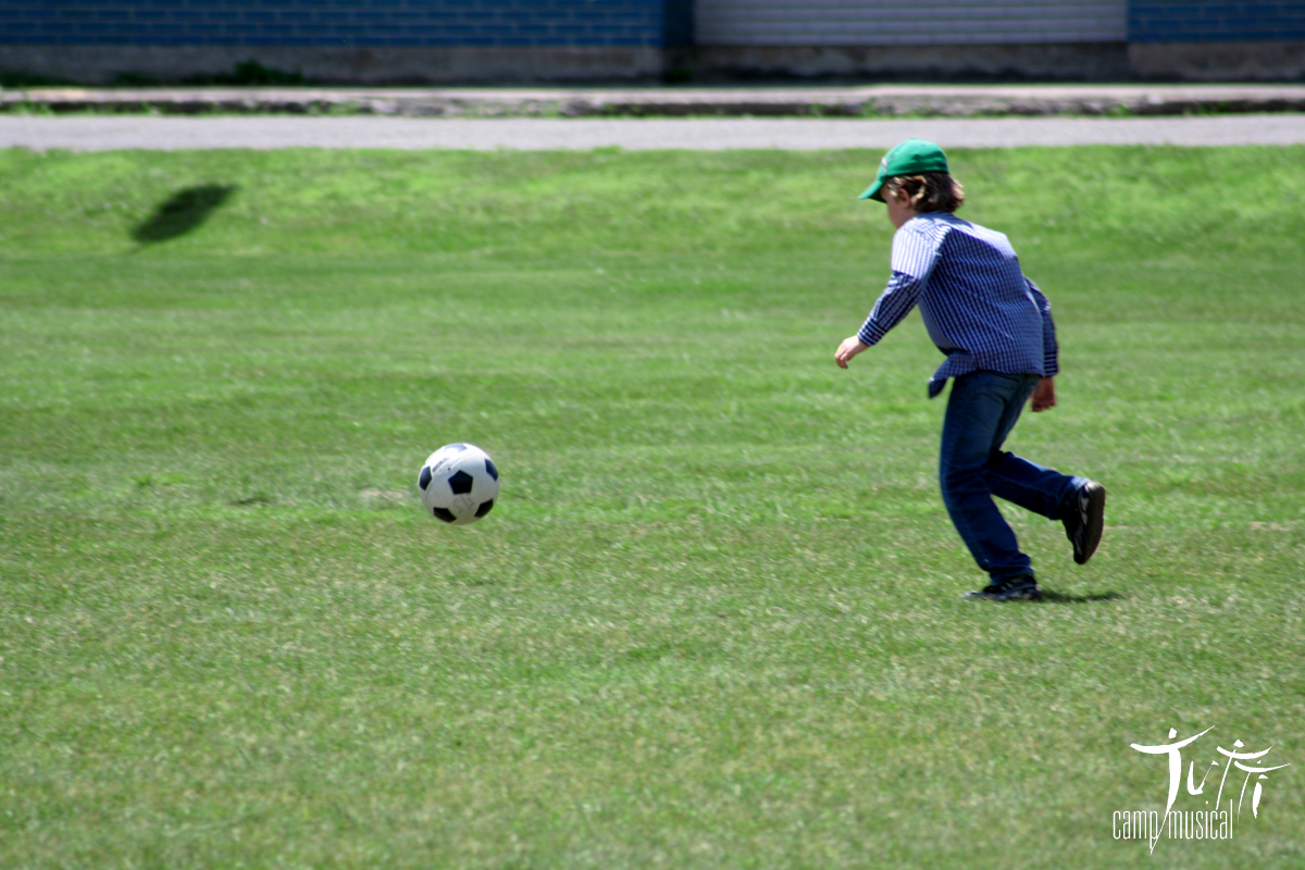 Mino playing soccer
